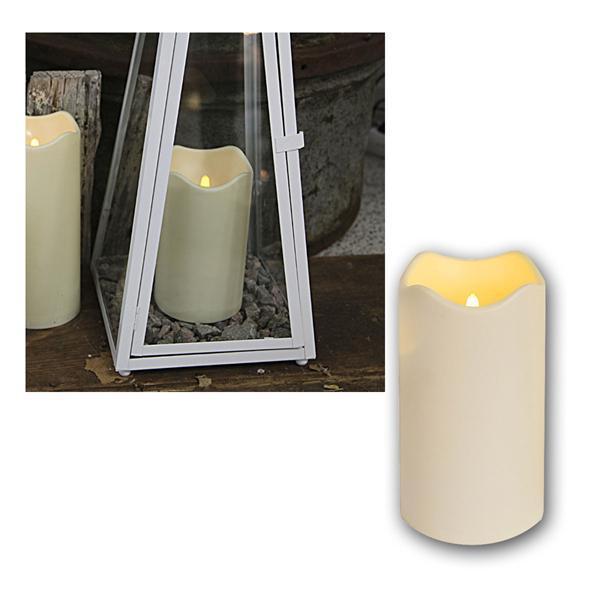 LED Kerze, Höhe 18cm, mit Timer, Ø10cm, für Außen