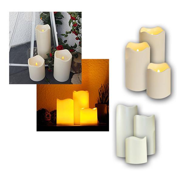 6er Set LED Kerze fü Außen, Timer, Ø 7,5 / 10cm