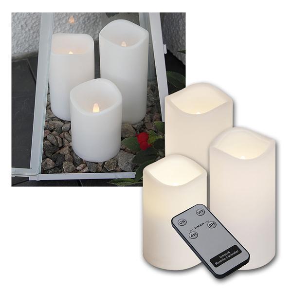 3er Set LED Außen-Kerzen mit Fernbedienung & Timer