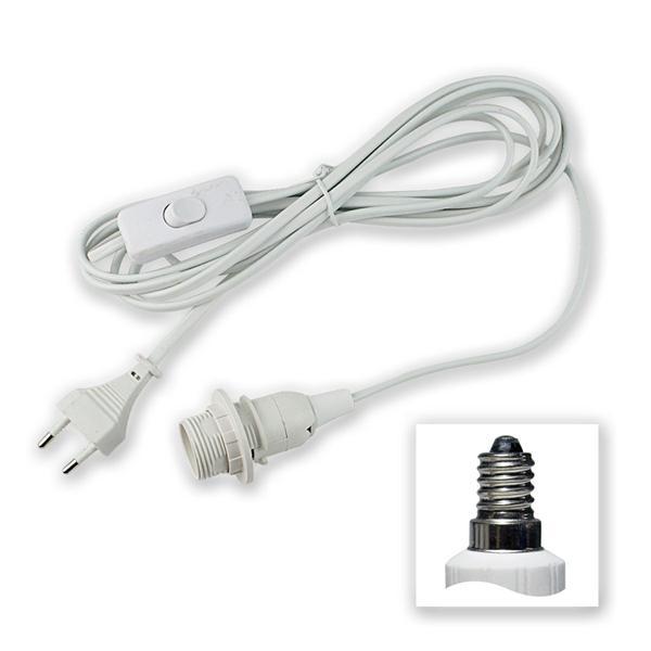 Netzkabel mit Schalter und E14 Fassung, weiß