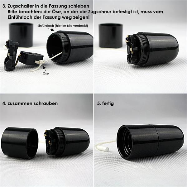 schwarze Kunststoff-Fassung für Leuchtmittel mit einem E27 Gewinde