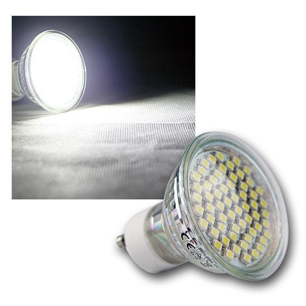 LED-Strahler 60x 3528 SMD LEDs GU10 kalt weiß 3W