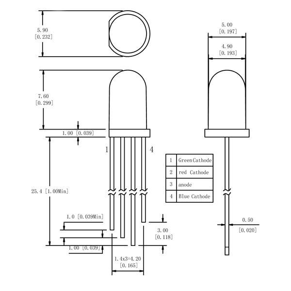 Abmessungen der 5mm steuerbaren LEDs