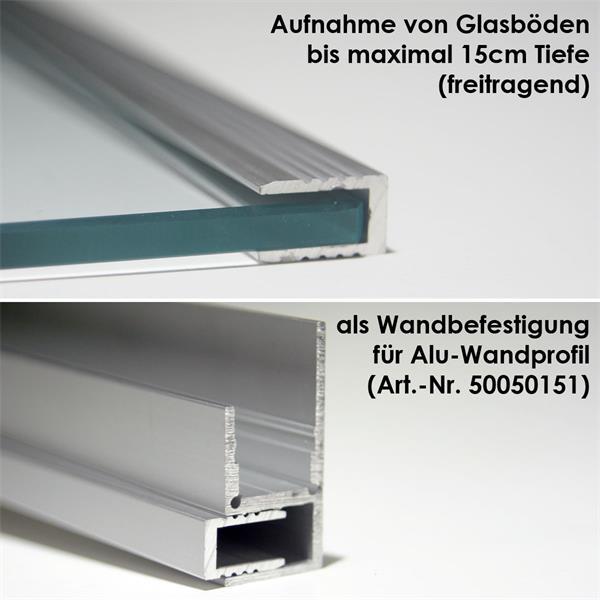 Wand-Glasbodenprofil aus eloxiertem Aluminium