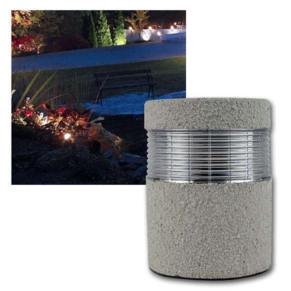 LED Solarleuchte, Steinleuchte kaltweiß, 11,5x15,5