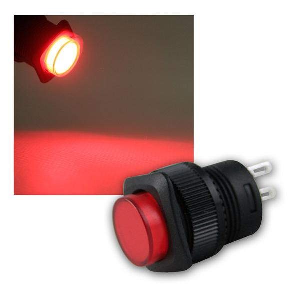 Druckschalter mit LED-Beleuchtung ROT, max 1A/250V