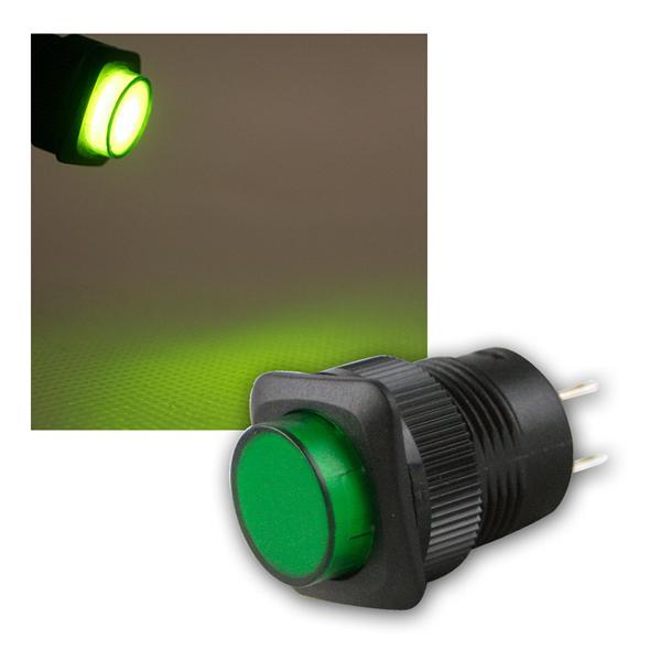 Druckschalter mit LED-Beleuchtung GRÜN, 1A/250V