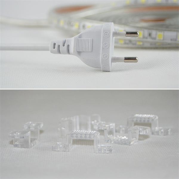 LED SMD flexibler Streifen mit Netzstecker und Befestigungsclips