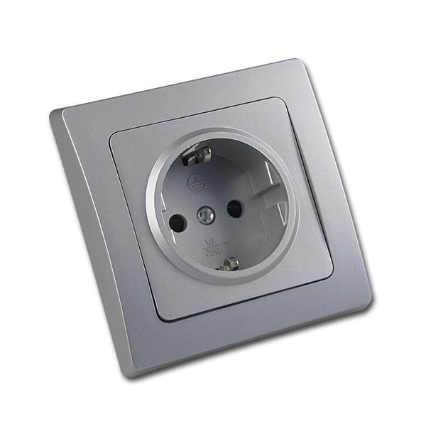 DELPHI Schutzkontakt-Steckdose 250V~/16A UP silber