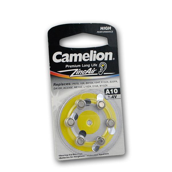 6er Pack Hörgeräte-Batterie CAMELION A10 Zink/Luft