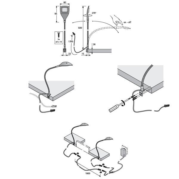 LED Tischleuchte für mit Befestigungswinkel und SMD LEDs