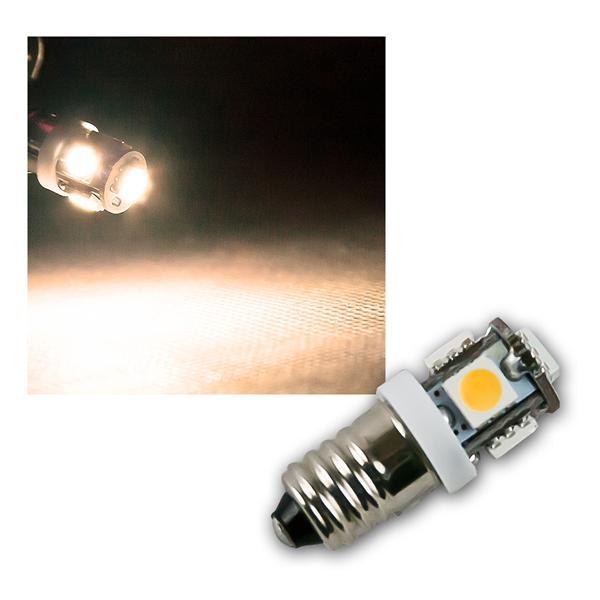 LED Leuchtmittel E10 warm weiß 12V DC 5x 5050 SMD