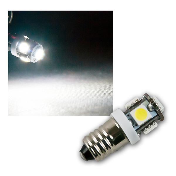 LED Leuchtmittel E10 kalt weiß 12V DC 5x 5050 SMD