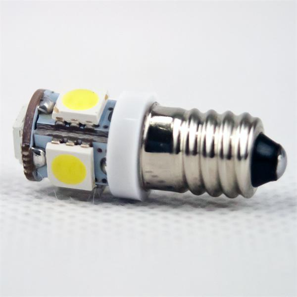 LED Energiesparlampe Sockel E10 für 12V DC mit nur ca. 0,8W Verbrauch