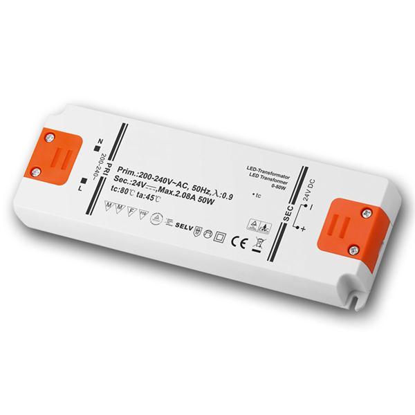 LED Slim-Transformator 24V DC, 0-50W, IP20, Trafo