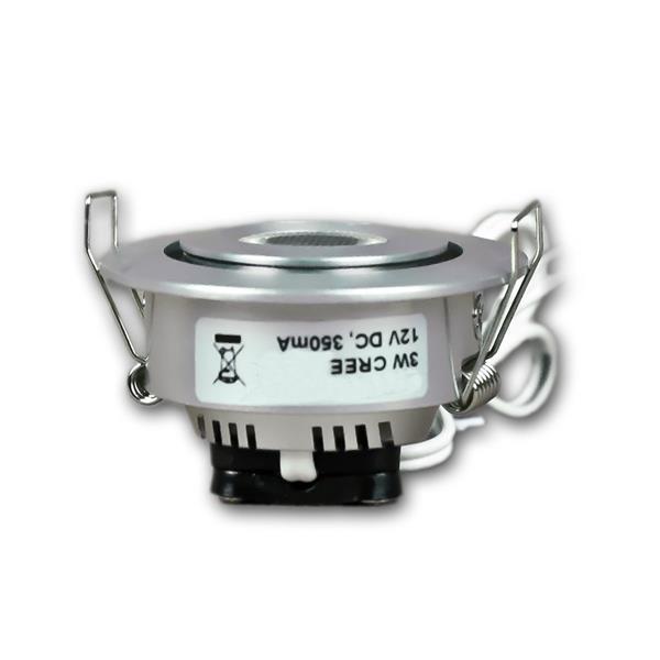 12V LED Leuchtmittel rund schwenkbar in gebürstetem Aluminiumgehäuse
