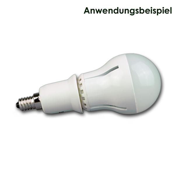 gängiges E27 Leuchtmittel auf E14 adaptieren