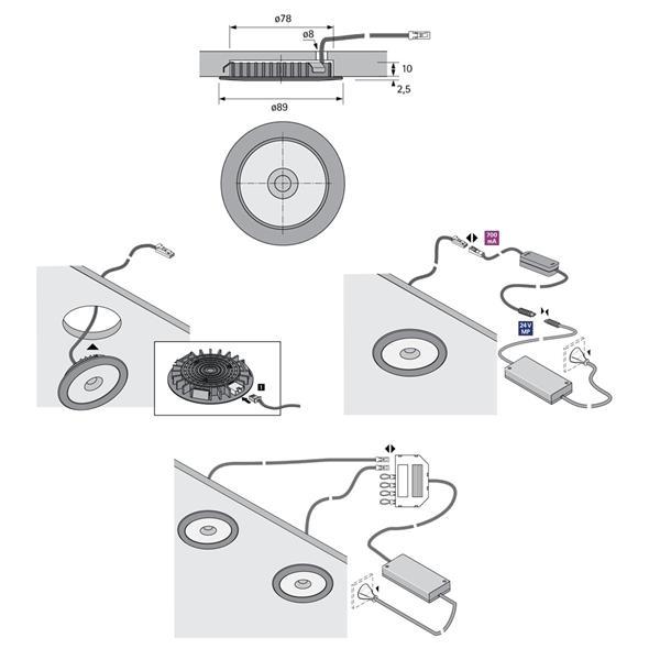 LED Downlight für 700mA Konstantstromquellen (bitte entsprechend der Anzahl der Leuchten auswählen)