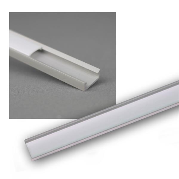 """1m LED Kunststoff-Profil """"MINI"""" grau, Abdeckg OPAL"""