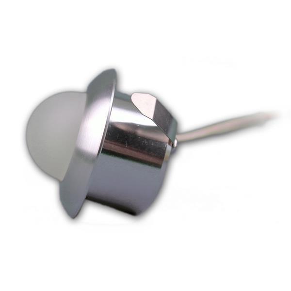 LED Downlight in einem gebürstetem Aluminiumgehäuse und mattem Glaskörper