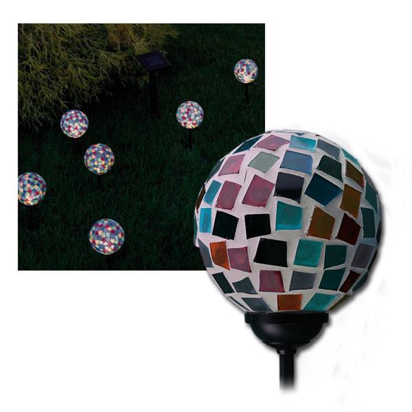 """6er Set LED Solar-Leuchte """"Gala"""", Echtglas bunt"""