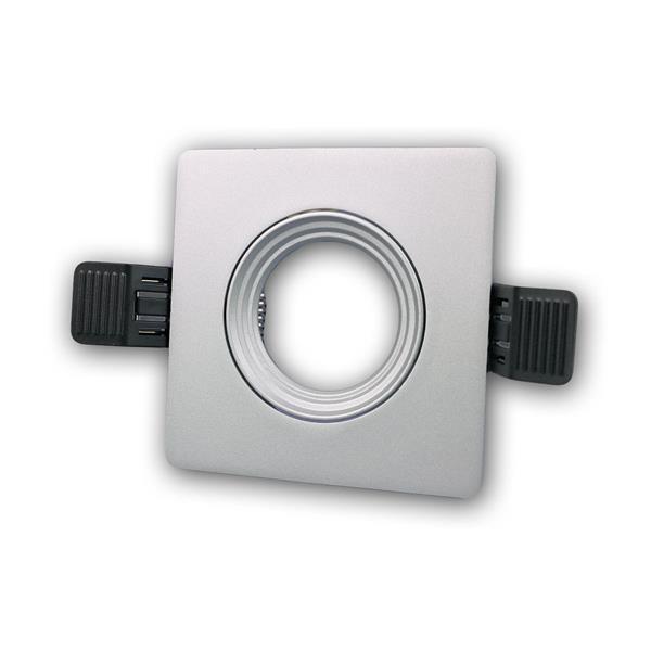 Lampen Einbaurahmen MR16 eckig  silber Click-In