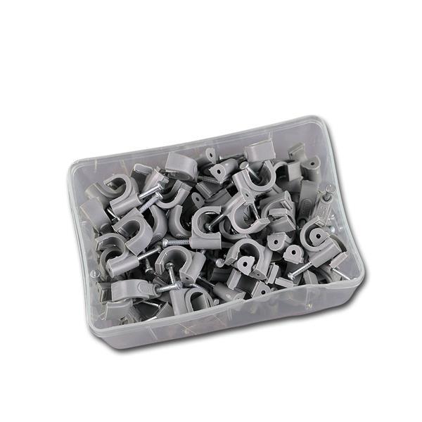 100 Kabelschellen grau, für Kabel max. Ø 8mm