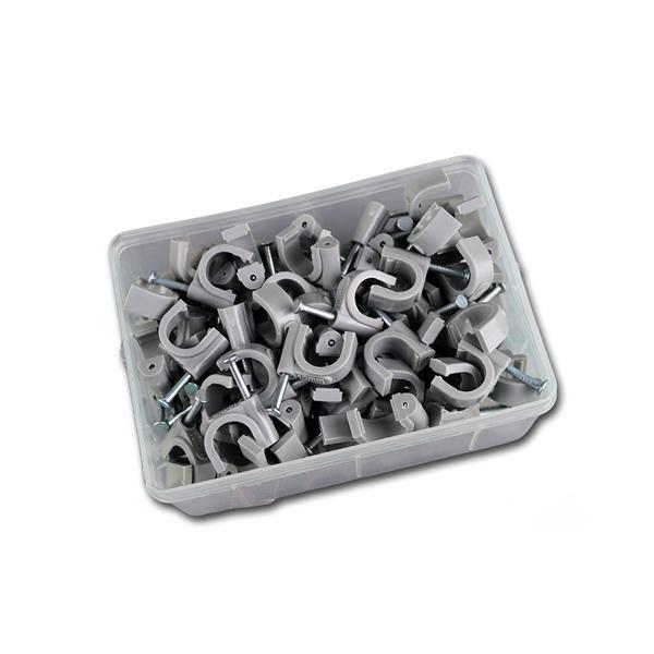 100 Kabelschellen grau, für Kabel max. Ø 10mm