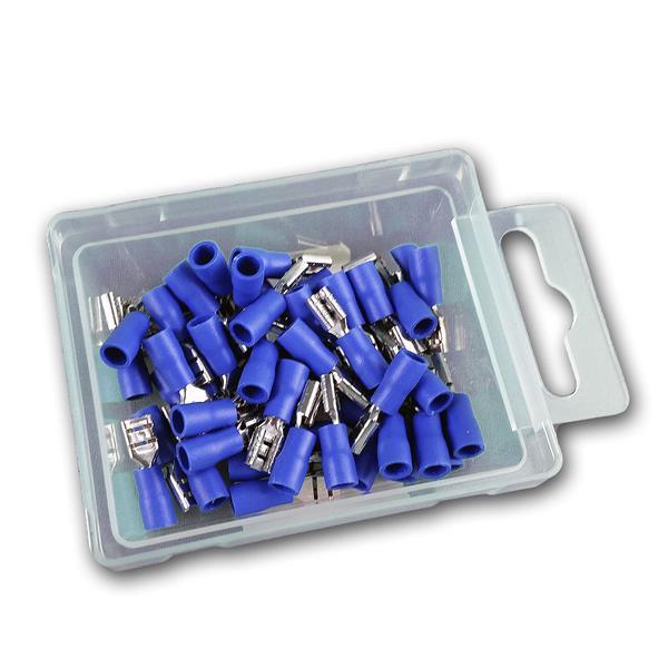 Flachsteckhülsen blau in praktischer Aufbewahrungsbox