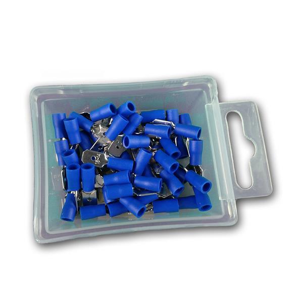 Flachstecker blau in praktischer Aufbewahrungsbox