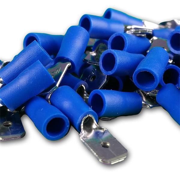 Flachstecker 6,3mm aus galvanisch verzinnten Messing, teilisoliert