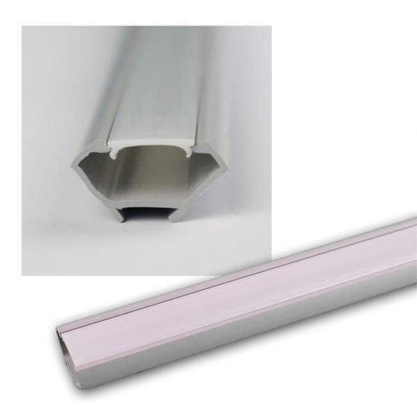 "1m LED Kunststoff-Profil ""ECKE"" grau, Abdeckg OPAL"