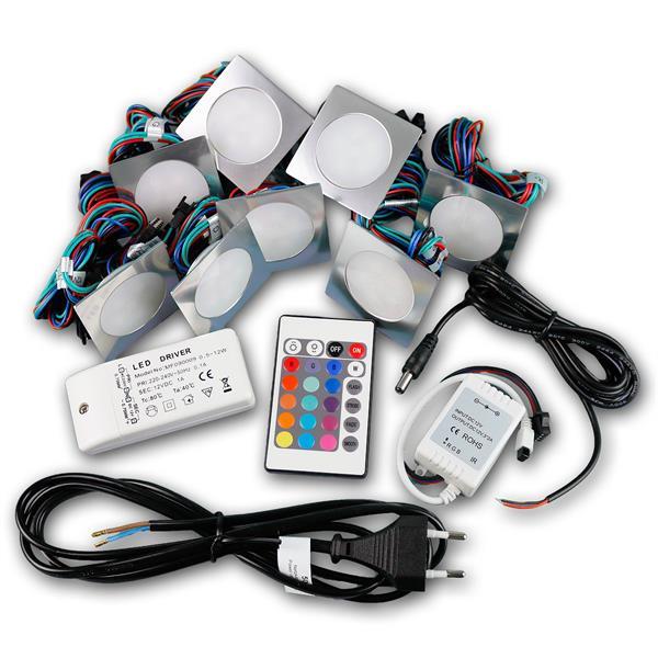 Einbaustrahlerset IP67 komplett mit Trafo, Anschlusskabel, Controller und Fernbedienung