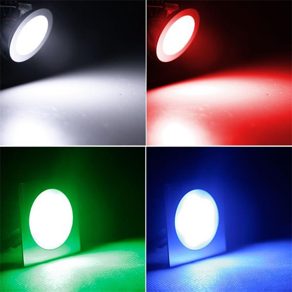 Runde oder eckige Einbauleuchten mit RGB-LEDs