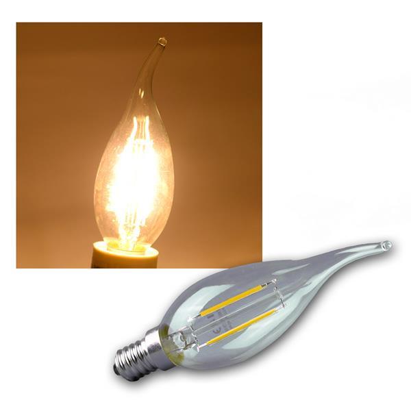 LED Windstoß Kerzenlampe E14 Filament K2+ 200lm