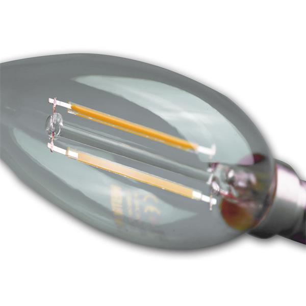 LED Kerzenstrahler E14 sieht mit klarer Glasabdeckung unheimlich dekorativ aus