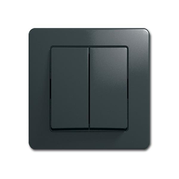 EKONOMIK Doppel-Wechsel-Schalter anthrazi 250V/10A