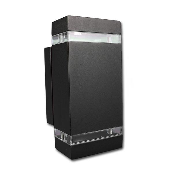 Außen Wandleuchte schwarz eckig IP44 230V GU10