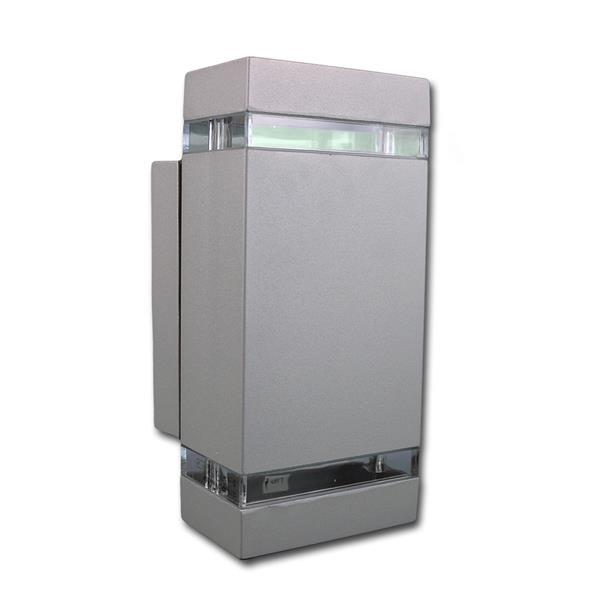 Außen Wandleuchte grau eckig IP44 230V GU10