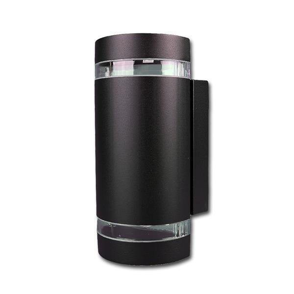 Außen Wandleuchte schwarz halbrund IP44 230V GU10