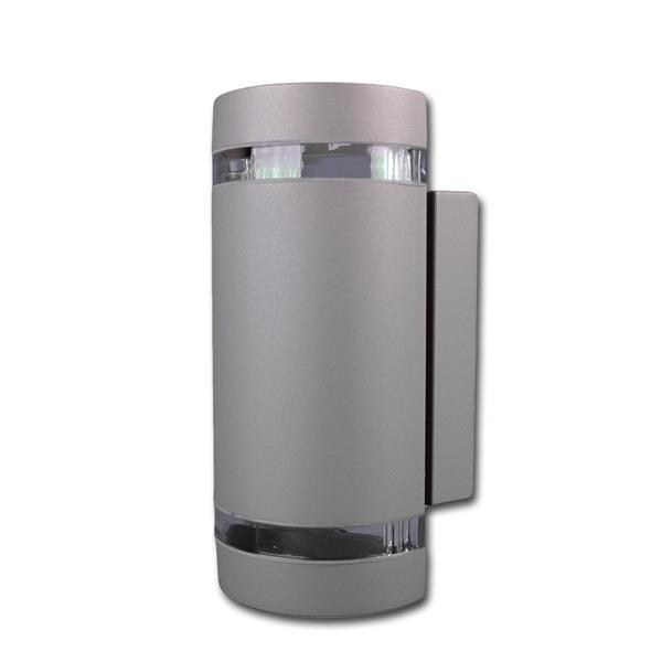 Außen Wandleuchte grau halbrund IP44 230V GU10