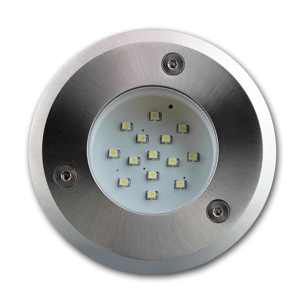 LED Bodeneinbauspot IP66 mit trittfester Edelstahl-Frontplatte und Verglasung
