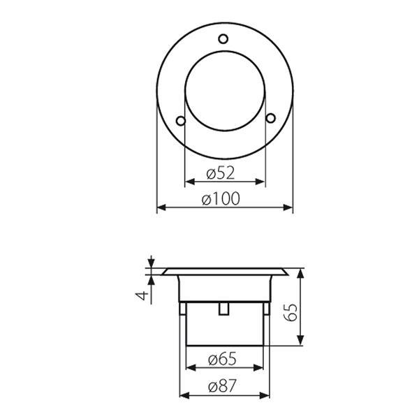 LED Uplight IP66 für 230V mit nur 0,7W Verbrauch - Maße