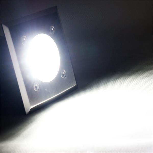 230V LED Bodeneinbaustrahler mit 14 kalt-weißen LEDs und 60lm Lichtstrom