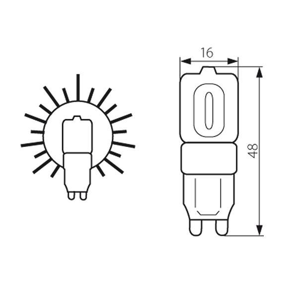 G9 Led-Lampe 230V mit dem Maß 16x48mm (ØxL) der ideale Ersatz für Ihre Halogenlampen