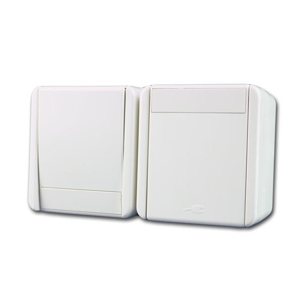 fontana Steckdose/Schalter HOR weiß 250V~/16A IP44