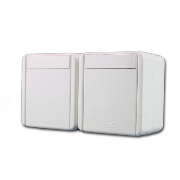 fontana Doppel-Steckdose HOR weiß, 250V~/16A, IP44