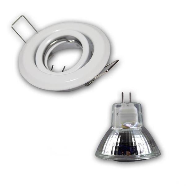 LED Leuchtmittel mit ca. 150lm Lichtstrom in einem schwenkbarem weißem Rahmen