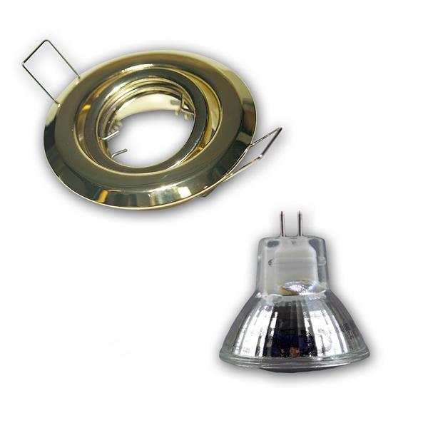LED Leuchtmittel mit ca. 140lm Lichtstrom in einem schwenkbarem Messing/Gold-Rahmen