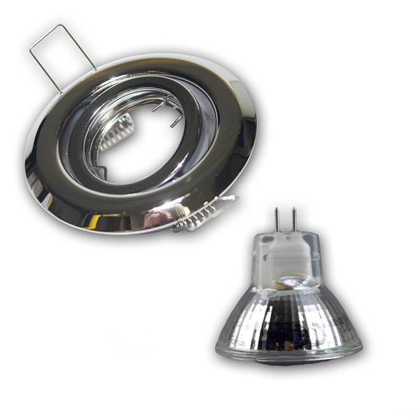 LED Downlight mit ca. 140lm Lichtstrom in einem schwenkbarem chrom-matten Rahmen